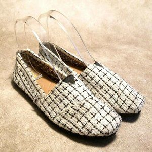 Toms Womens Classics Sz 6.5 W White Black Loafers